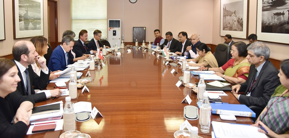 External Affairs Minister and Dr. Ignazio Cassis, Federal Councillor and Head of Federal Department of Foreign Affairs of Switzerland participate in Delegation Level Talks in New Delhi
