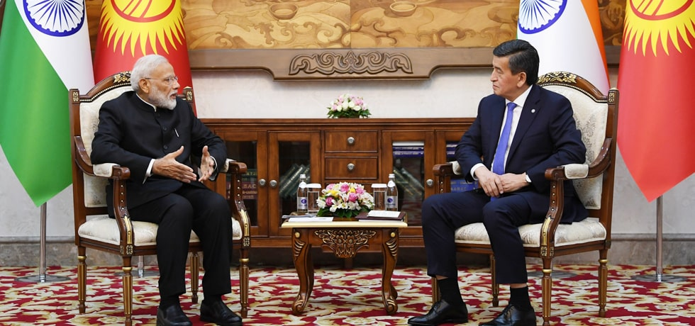 Prime Minister meets Sooronbay Jeenbekov, President of Kyrgyz Republic at the Ala Archa Presidential Palace in Bishkek