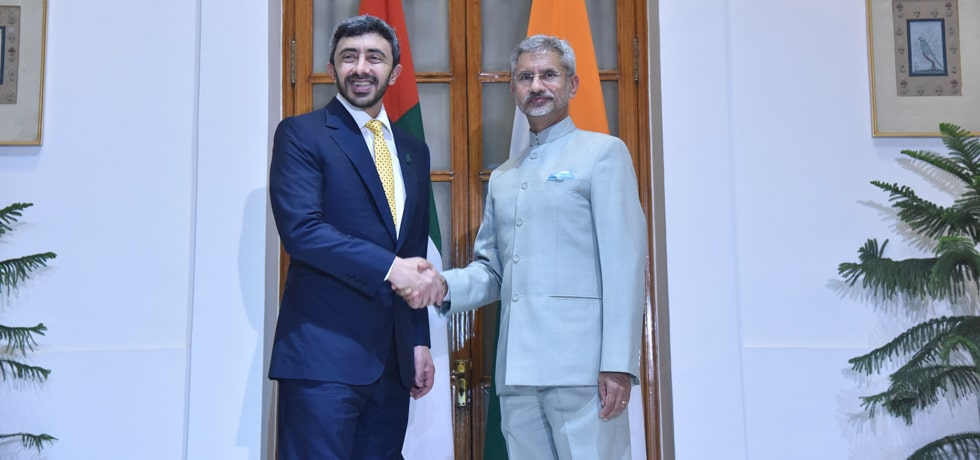 External Affairs Minister meets Sheikh Abdullah Bin Zayed Al Nahyan, Minister of Foreign Affairs and International Cooperation of UAE in New Delhi[ph]Photo Courtesy : Hemant Joshi [/ph]