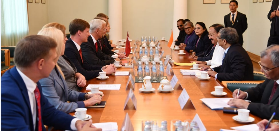 Vice President and Prime Minister of Latvia hold Delegation Level Talks at Cabinet of Ministers in Riga