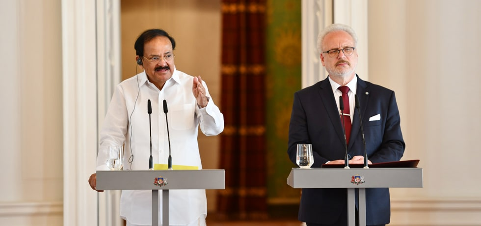Vice President delivers his Press Statement during his visit to Riga, Latvia