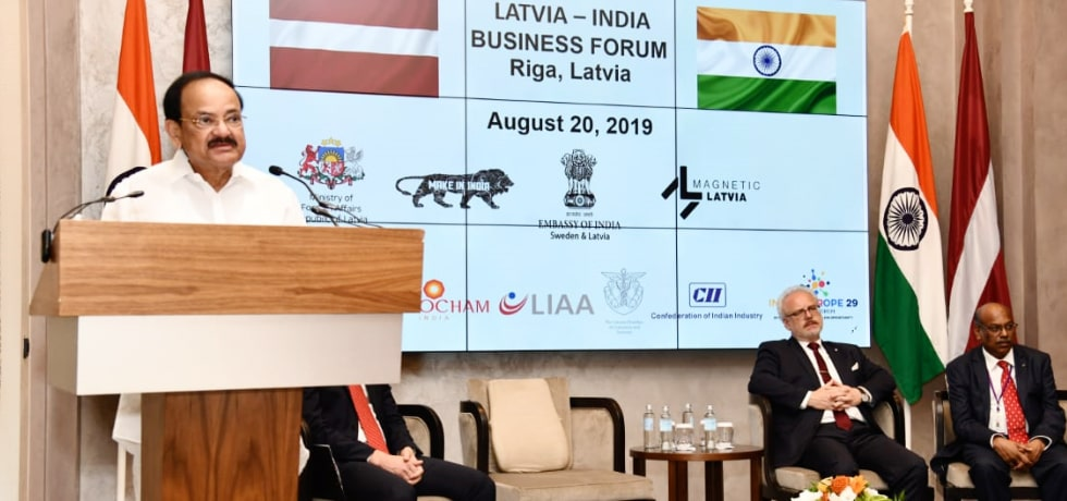 Vice President addresses Latvia - India Business Forum in Riga