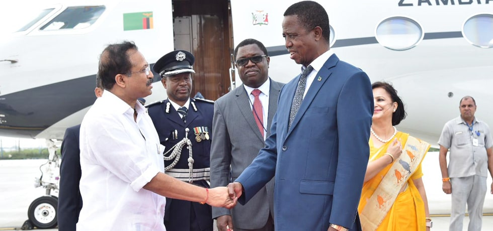 Edgar Chagwa Lungu, President of the Republic of Zambia arrives in New Delhi on State Visit to India