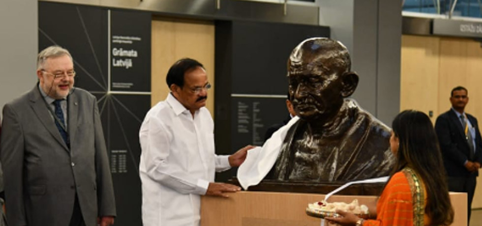Vice President inaugurates Mahatma Gandhi bust at National Library of Latvia in Riga
