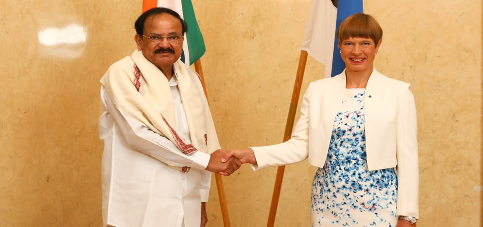 Vice President meets Kersti Kaljulaid, President of Estonia in Tallinn
