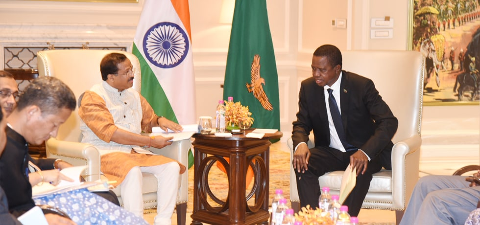 Minister of State for External Affairs calls on Edgar Chagwa Lungu, President of the Republic of Zambia in New Delhi
