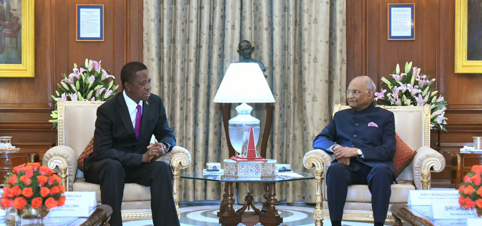 President meets Edgar Chagwa Lungu, President of the Republic of Zambia in Rashtrapati Bhawan