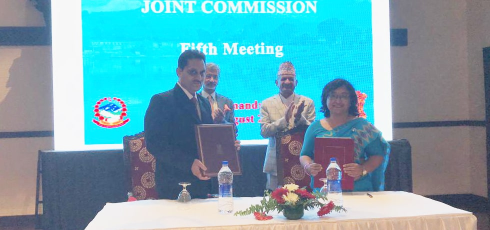 External Affairs Minister and Foreign Minister of Nepal witness Exchange of MOU at 5th India-Nepal Joint Commission Meeting in Kathmandu, Nepal