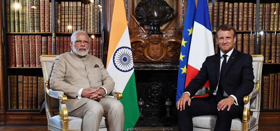 Prime Minister meets Emmanuel Macron, President of France during his visit to France