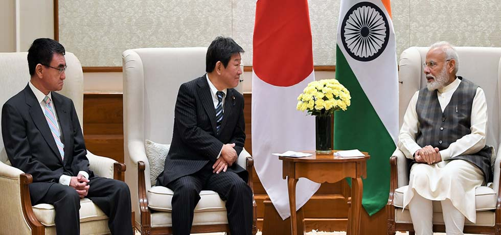 Toshimitsu Motegi, Foreign Affairs Minister and Taro Kono, Defence Minister of Japan call on Prime Minister in New Delhi [ph]Photo Courtesy: Lalit Kumar[/ph]