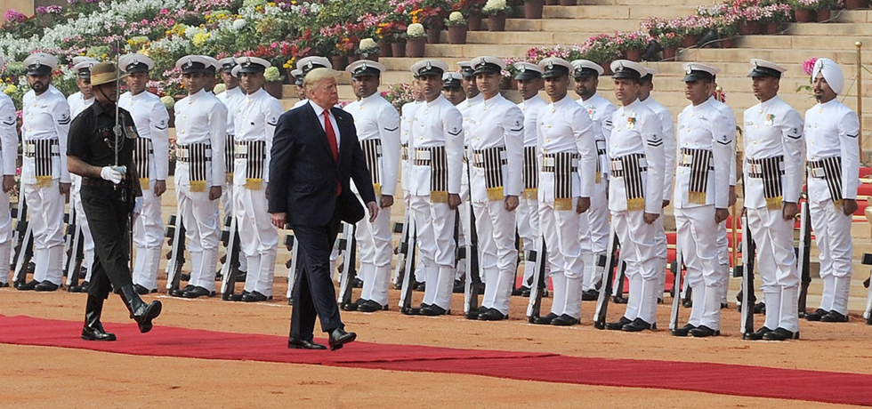 Donald J. Trump, President of the United States of America inspects Guard of Honour during Ceremonial Welcome at Rashtrapati Bhawan, New Delhi