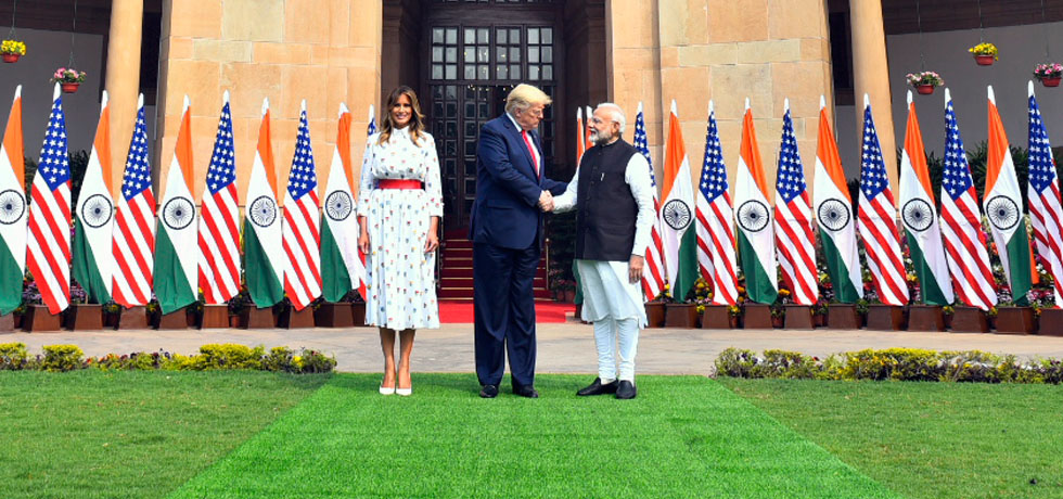 Prime Minister meets Donald J. Trump, President of the United States of America and Melania Trump, the First Lady of US at Hyderabad House, New Delhi
