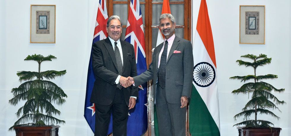 External Affairs Minister meets Winston Peters, Deputy Prime Minister and Minister of Foreign Affairs of New Zealand at Hyderabad House, New Delhi