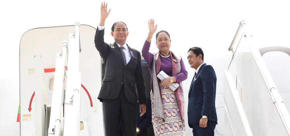 U Win Myint, President of Myanmar arrives in New Delhi on his 4-day State Visit to India