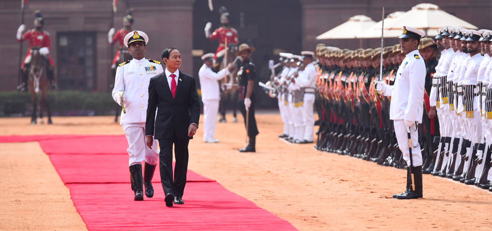 U Win Myint, President of Myanmar inspects Guard of Honour during Ceremonial Welcome at Rashtrapati Bhawan, New Delhi