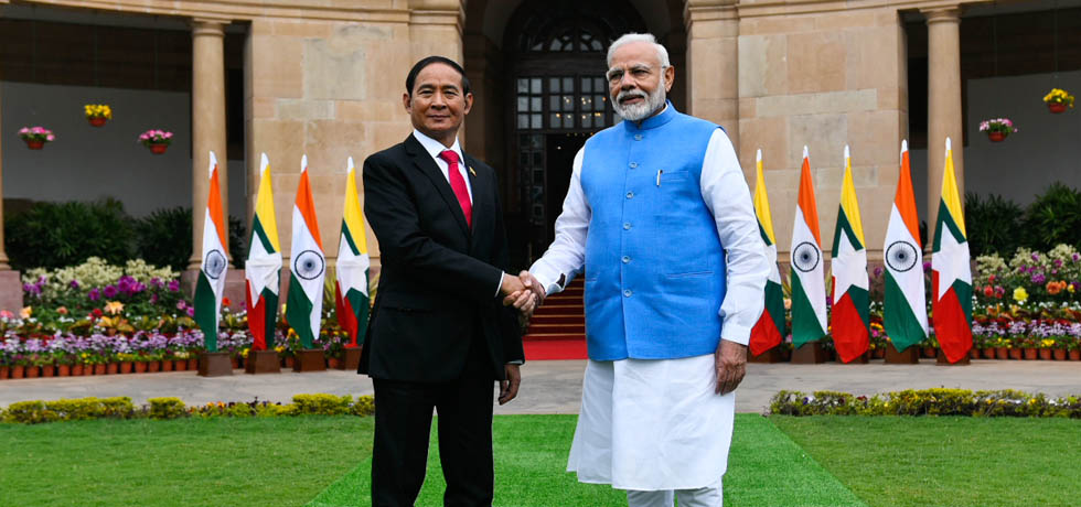 Prime Minister meets U Win Myint, President of Myanmar at Hyderabad House, New Delhi