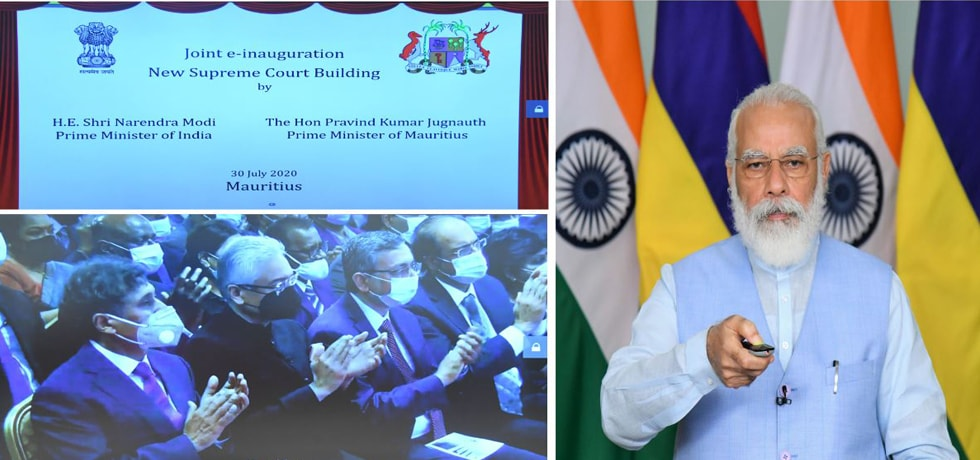 Prime Minister of India and Prime Minister of Mauritius jointly inaugurate the new Supreme Court Building of Mauritius[ph]Photo Courtesy: Hemant Joshi [/ph]