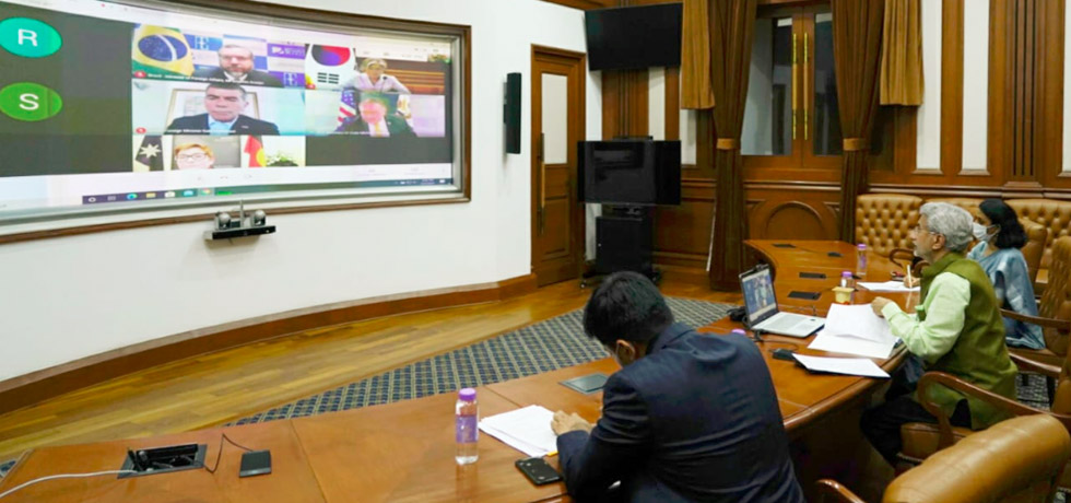 External Affairs Minister participated in a virtual meeting with counterparts from US, Brazil, Israel, Australia and RoK