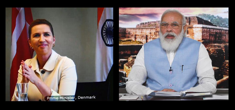 Prime Minister and Prime Minister of Denmark at the India - Denmark Virtual Bilateral Summit