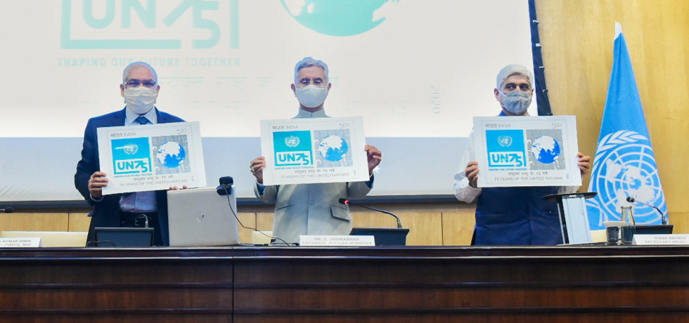 External Affairs Minister witnesses the release of Commemorative Postage Stamp on 75th Anniversary of United Nations in New Delhi