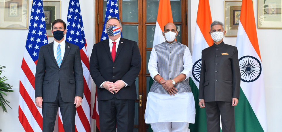 EAM and RM with their U.S. counterparts Secretaries of State and Defense, Michael R. Pompeo and Mark T. Esper at Hyderabad House, New Delhi for 2 plus 2 Ministerial Dialogue